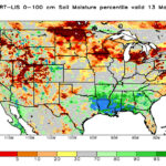 Data from NASA shows that millions of acres of farmland, in northern North Dakota and across the border into Manitoba and Saskatchewan, have extremely low soil moisture this spring. | map via NASA.gov